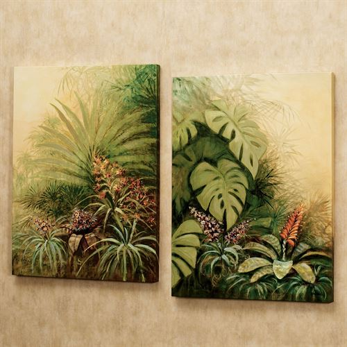 Tropical Haven Outdoor Canvas Set  Set of Two