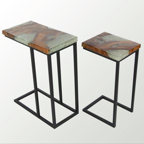 Teak Nesting Tables Black Set of Two & Teak Wood and Metal Nesting Table Set