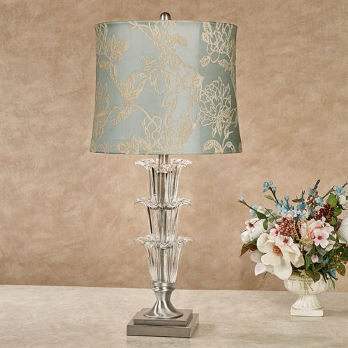 Maryanne Crystal Table Lamp Aqua Mist Each with CFL Bulb