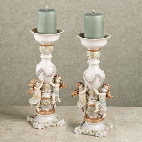 Cherubic Reverie Candleholder Pair White