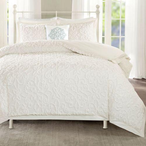 Lily Chenille Comforter Bed Set Eggshell