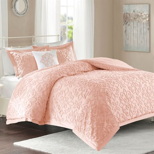 Lily Chenille Comforter Bed Set Coral Pink
