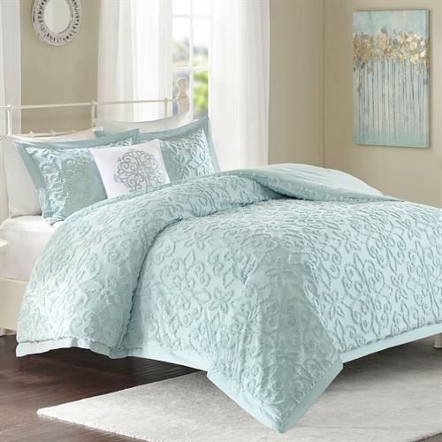 Bedroom Sets Clearance Free Shipping: Lily Pale Aqua Cotton Chenille 4 Pc Comforter Bed Set