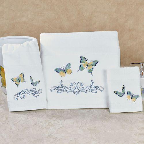 Exceptionnel Watercolor Garden Butterfly Bath Towel Set White Bath Hand Fingertip