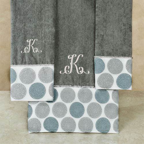 Dotted Circles Bath Towel Set Dark Gray Bath Hand Fingertip