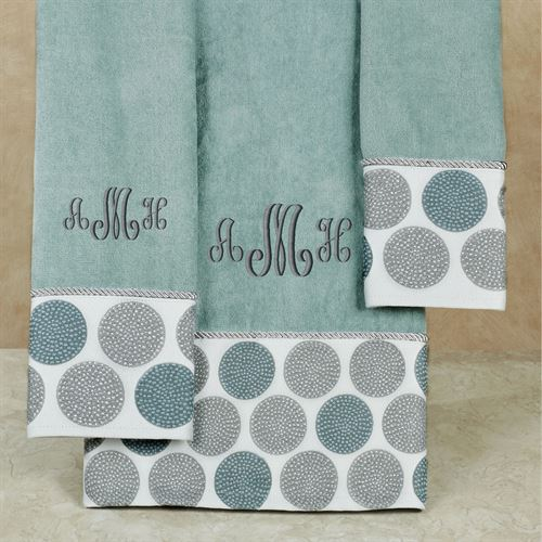 Dotted Circles Bath Towel Set Glacier Bath Hand Fingertip