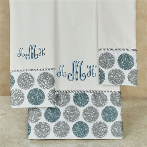 Dotted Circles Bath Towel Set Off White Bath Hand Fingertip