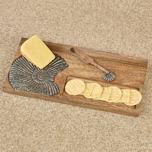 Nautilus Cracker Well Serving Board and Spreader Brown 2 Piece Set