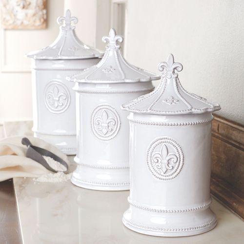 Fleur de Lis Kitchen Canisters White Set of Three