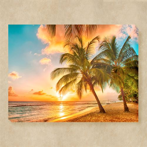 Setting Sun Tropical Beach Indoor Outdoor Canvas Wall Art