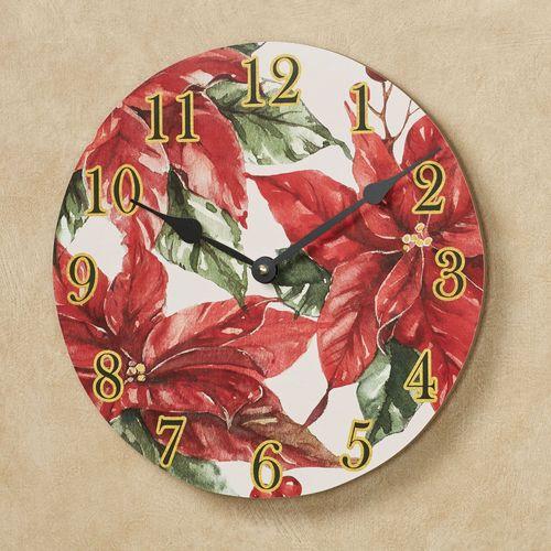 Christmas Poinsettia Wall Clock Red