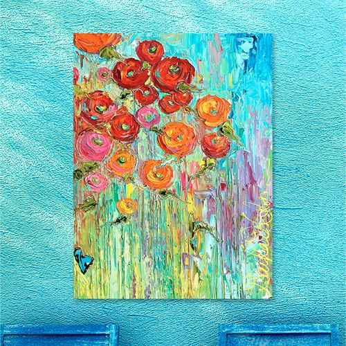 Poppies No 6 Canvas Wall Art Multi Bright
