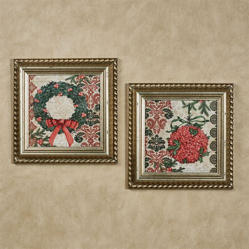 Elegant Christmas Framed Wall Art Multi Warm Set of Two