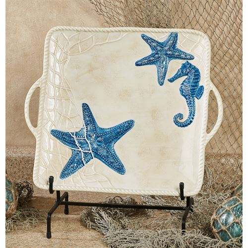 Seaside Serving Platter Blue/Ivory