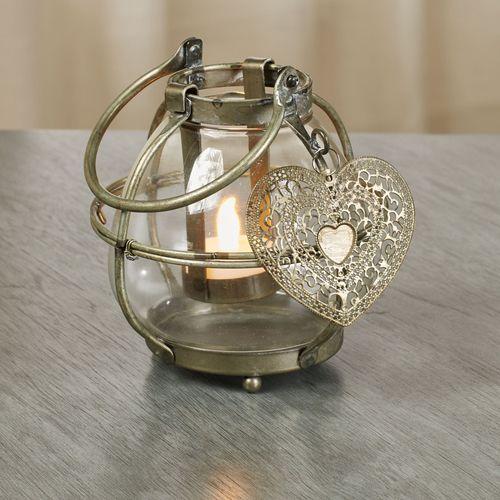 With Love Tealight Holder Lantern Antique Gold