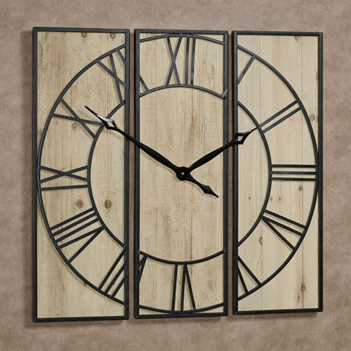 Alexander Wall Clock Panels Natural Set of Three