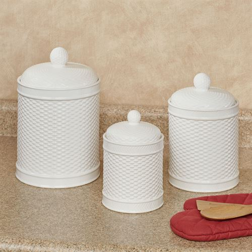Aria Kitchen Canisters White Set of Three
