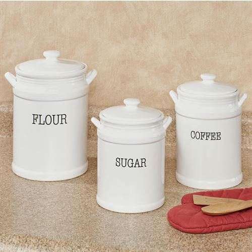 Fiddle and Fern Kitchen Canisters White Set of Three