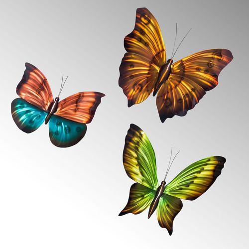 Butterflies Wall Art Multi Earth Set of Three
