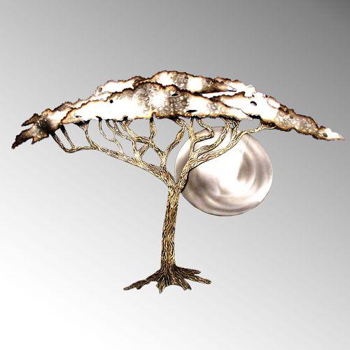 Acacia Tree in Moonlight Wall Sculpture Multi Metallic