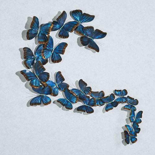 Butterflies in Flight Wall Sculpture Blue
