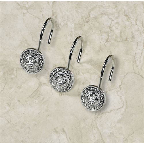 Catalina Jeweled Shower Curtain Hook Set Hooks Silver 12 Piece