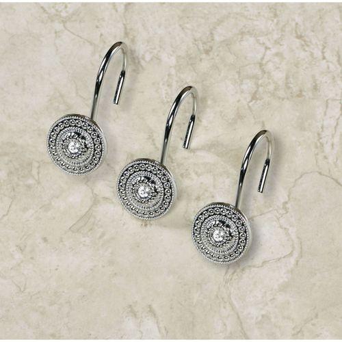Catalina Jeweled Shower Curtain Hook Set Hooks Silver 12 Piece