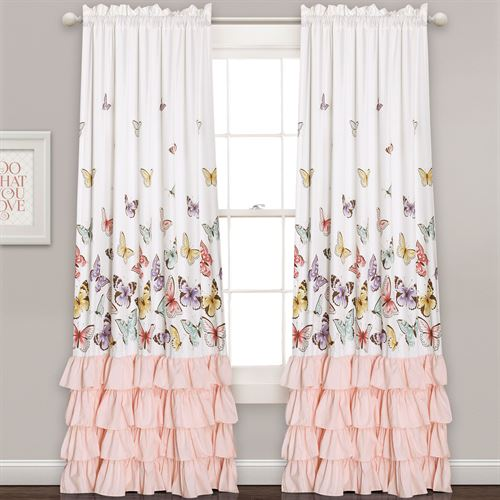 Selma Butterfly Wide Curtain Pair Pale Pink 104 x 84