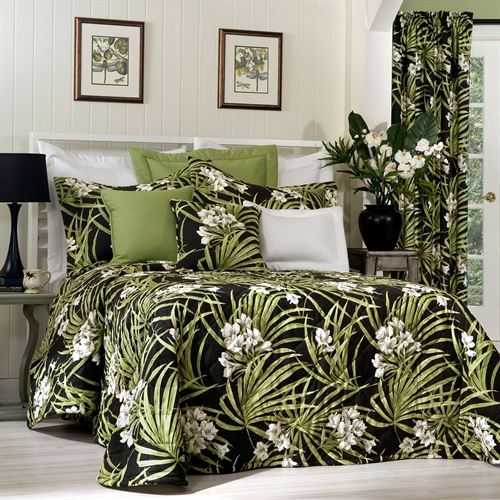 Jamaican Sunset Tropical Bedspread Black