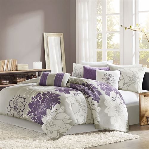 Amaryllis Comforter Bed Set Purple