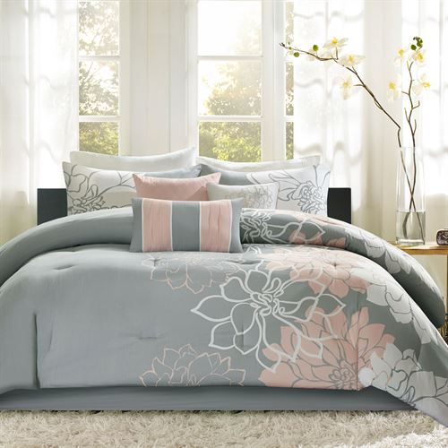Amaryllis Comforter Bed Set Salmon