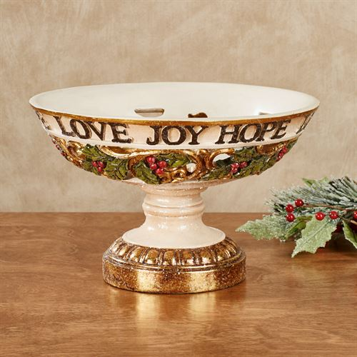 Love Joy Hope Decorative Centerpiece Bowl Ivory