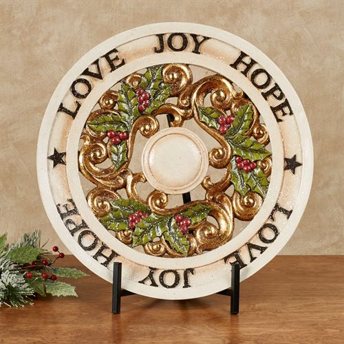 Love Joy Hope Decorative Charger with Stand Ivory