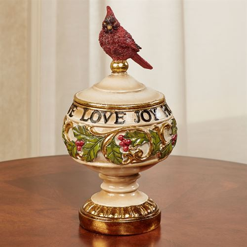 Love Joy Hope Covered Jar Ivory