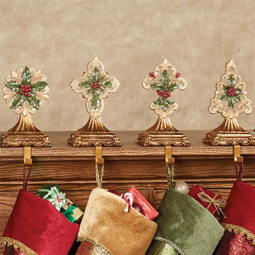 Winterberry Stocking Holders Red Set of Four