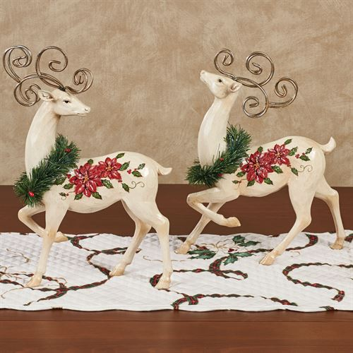 Holiday Reindeer Sculptures Ivory Set of Two