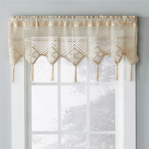 Boho Crochet Window Valance Natural 49 x 14