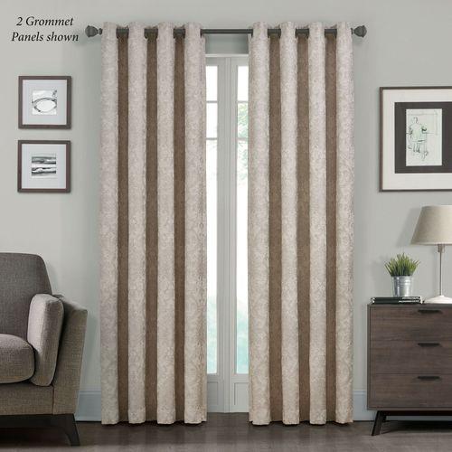 Kacee Damask Grommet Curtain Panel Natural