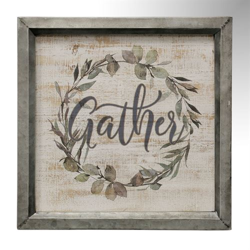 Gather Word Framed Wall Plaque Multi Earth