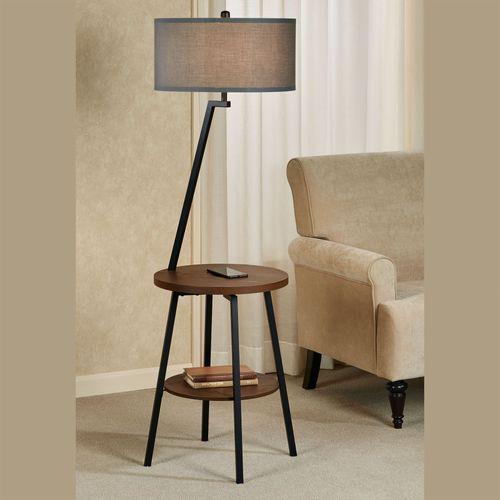 Woodrine Floor Lamp End Table Maplewood