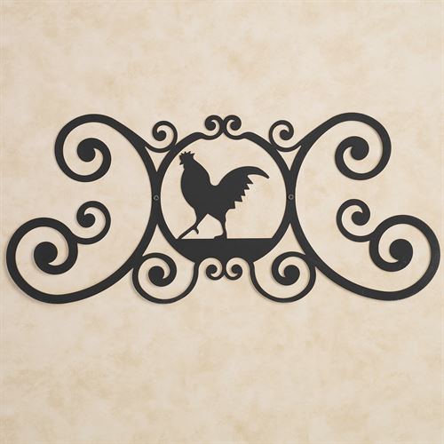 Rooster Over the Door Plaque Black