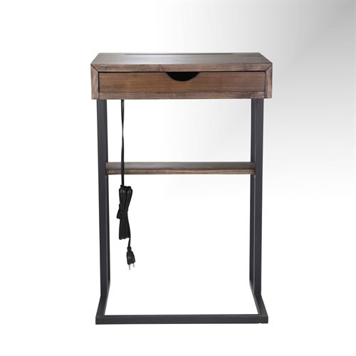 C Shaped Accent Table Brown