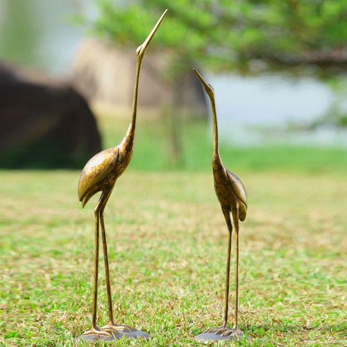 Crane Outdoor Sculptures Bronze Set of Two