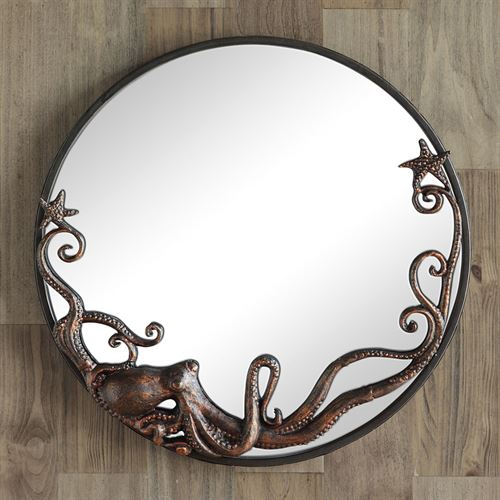 Octopus Round Wall Mirror Burnished Copper