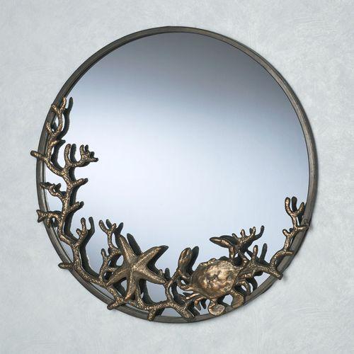 Starfish and Crab Round Wall Mirror Bronze