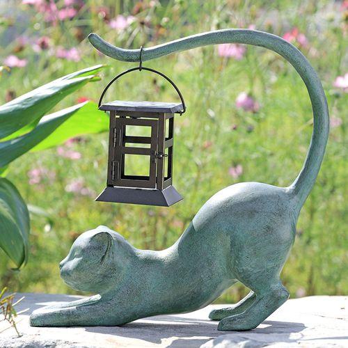 Stretching Cat Outdoor Garden Sculpture Gray