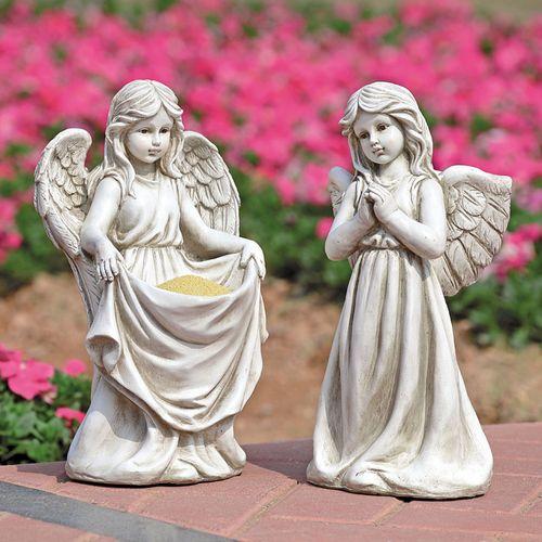 Cherubic Angel Outdoor Sculptures Antique White Set of Two