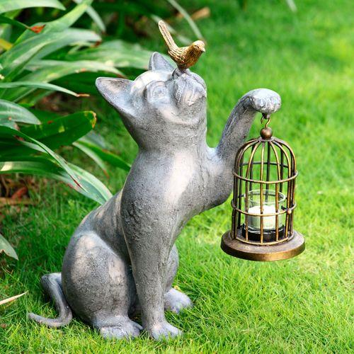 Night of Discovery Cat Outdoor Garden Sculpture Gray