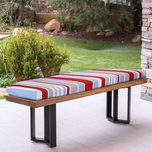 Pleasing Arcata Reversible Striped Indoor Outdoor Bench Seat Cushion Creativecarmelina Interior Chair Design Creativecarmelinacom