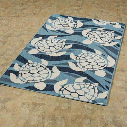 Swimming Sea Turtles Rectangle Rug Blue